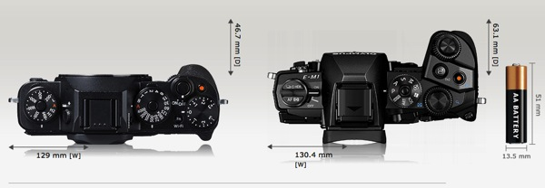 Fujifilm_X-T1_BodyTop_compared_Olympus_EM-1